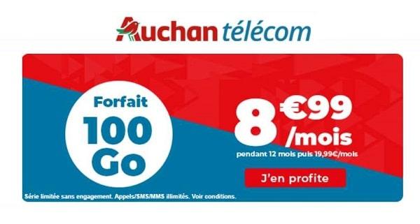 8,99€ forfait Auchan Telecom de 100Go avec les appels, SMS et MMS illimités