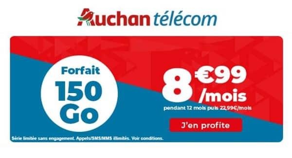 Auchan Telecom : forfait 150 Go à 8,99 € par mois