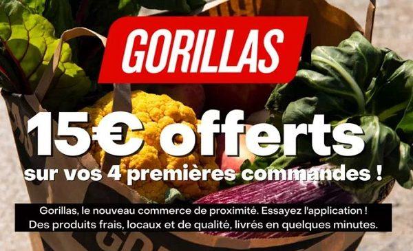 Bon d'achat Gorillas (courses livrées en 10 minutes
