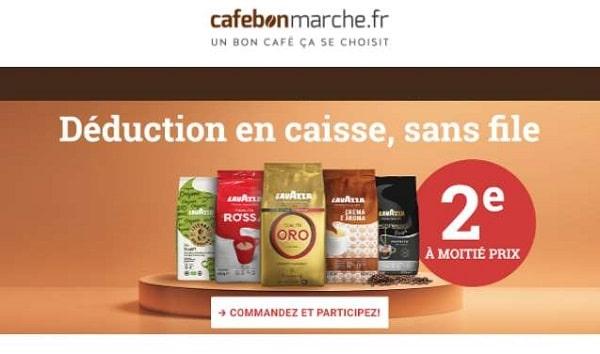 Cafebonmarche : 1 café en grain Lavazza acheté = 50% de remise sur le second