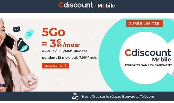Cdiscount Mobile : promo sur le forfait 5Go à seulement 3,99€