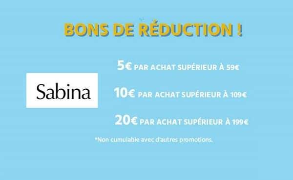 De 5€ à 20€ de remise sur vos achats sur la parfumerie en ligne Sabina