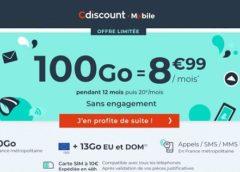 Forfait 100Go Cdiscount Mobile= 8,99€ avec appels-SMS-MMS illimités en France (pendant 1 an / sans engagement)