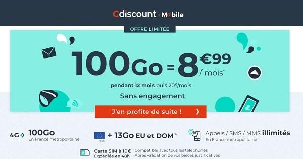 forfait 100go cdiscount mobile = 8,99€