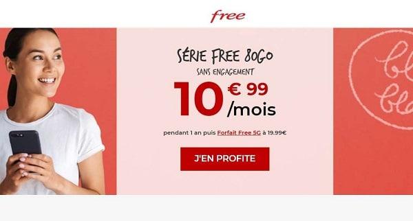Forfait Série Free 80Go : 10,99€