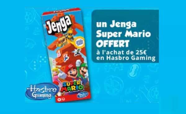 1 Jenga Super Mario gratuit (valeur 24,98€) pour l'achat de 25€ de jeux Hasbro Gaming