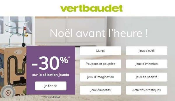 Noël avant l'heure Vert Baudet = 30% de remise sur une sélection de jouets et jeux