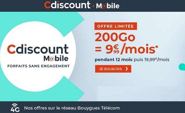 Offre flash Cdiscount Mobile : le forfait 200 Go à 9,99 € par mois pendant un an