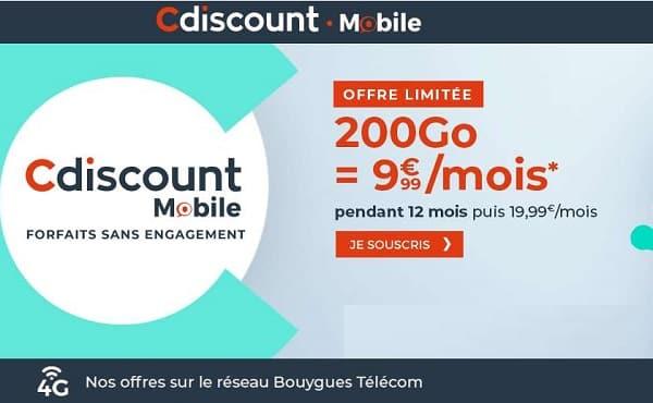 Offre flash Cdiscount Mobile : le forfait 200 Go à 9,99 €