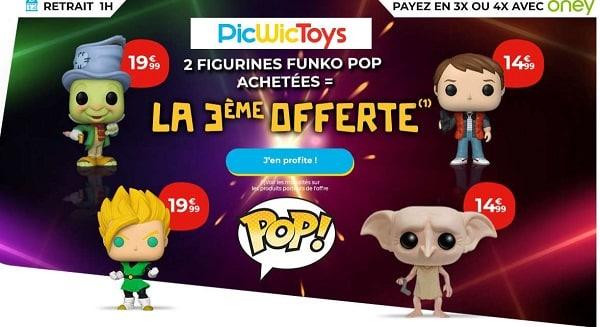 Pour l'achat de 2 Figurines POP! la 3 ème OFFERTE sur PicWicToys