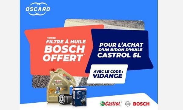 Un bidon d'huile Castrol 5L acheté = un filtre à huile Bosch OFFERT sur Oscaro