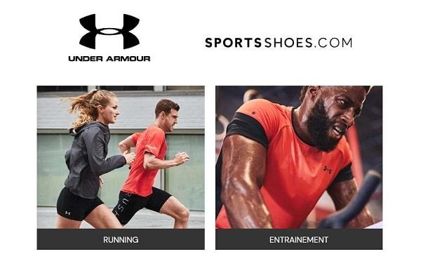 réduction sur tous les articles Under Armour sur SportsShoes