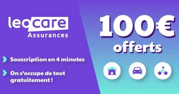 souscription assurance Auto, Moto ou Habitation Leocare = 100€ remboursé